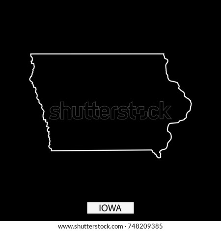 Iowa State USA Map Vector Outline Stock Vector (Royalty Free ...