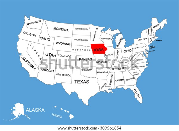 iowa on the us map Iowa State Usa Vector Map Isolated Stock Vector Royalty Free iowa on the us map
