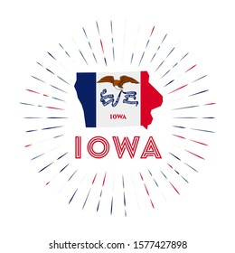 Iowa sunburst badge. The us state sign with map of Iowa with state flag. Colorful rays around the logo. Vector illustration.