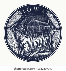 Iowa. Tattoo and t-shirt design. Welcome to Iowa (USA). Corn state slogan. Travel concept