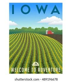 Iowa, United States retro travel poster or luggage sticker.  Scenic corn field and farm  vector illustration