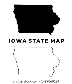 Iowa US State Map Silhouette and Outline isolated vector on white background