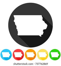 Iowa USA Symbol Icon Round Flat Vector Art Design Color Set