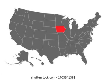 Iowa vector map. High detailed illustration. United state of America country