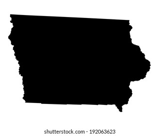 Iowa vector map silhouette isolated on white background. High detailed silhouette illustration. United state of America country.