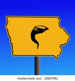 Iowa warning sign with tornado symbol on blue illustration