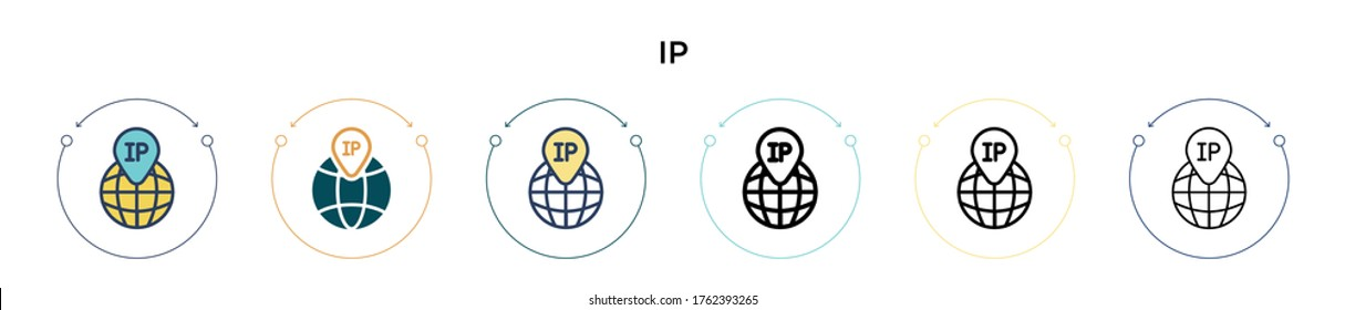Ip icon in filled, thin line, outline and stroke style. Vector illustration of two colored and black ip vector icons designs can be used for mobile, ui, web