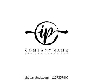 IP initial handwriting logo circle template vector