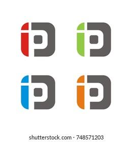 IP logo initial letter design template vector