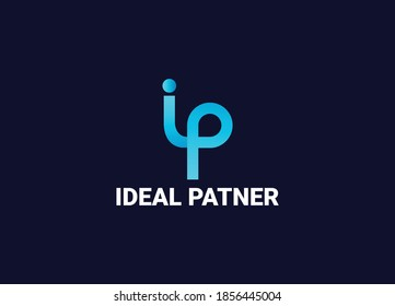 ip minimalist abstract lettermarks logo design template