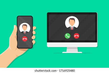 IP telephony. Hand holding smartphone in outgoing call on screen, computer with incoming call on screen. Internet call. VoIP technology. Stock vector illustration.10 eps.