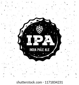 IPA or India Pale Ale Badge or Label. Craft beer with hops head. Vector Illustration.