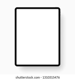 iPad Pro with 12.9-inch display, 2018. Template black frame with shadow. Vector illustration. EPS 10