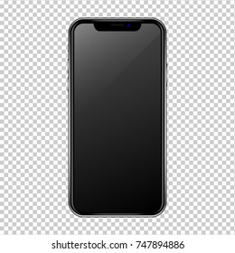 Iphon style black smartphone on transparent background. Cell phone with touchscreen. Mockup phone in EPS 10 file