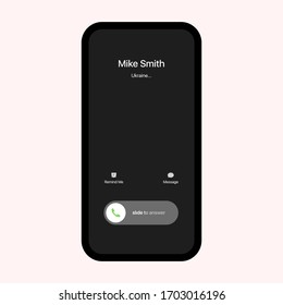 iPhone Call Screen Interface. Incoming Call. Slide To Answer. iPhone iOS Call Screen Template. Smartphone, Phone Call Screen Vector Mockup On White Background