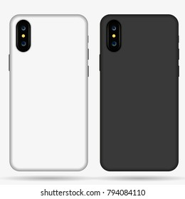 Iphone X case mockup template illustration (white/black).
