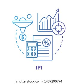 IPI blue concept icon. Industrial production index idea thin line illustration. Economic manufacture indicator. Manufacturing output measurement. Vector isolated outline drawing. Editable stroke