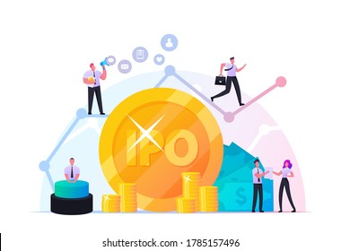 IPO Initial Public Offering. Tiny Male and Female Characters Businessmen, Businesswomen, Traders at Huge Growing Arrow Graph and Golden Coins. Stock Market Shares. Cartoon People Vector Illustration