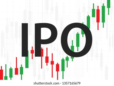 IPO sign on Forex candlestick chart background, vector light bac