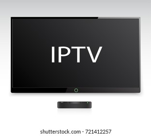 IPTV vector icon. TV box sign. A black IPTV