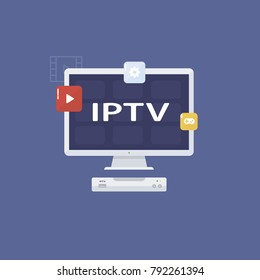 IPTV vector icon. TV box  vector illustration