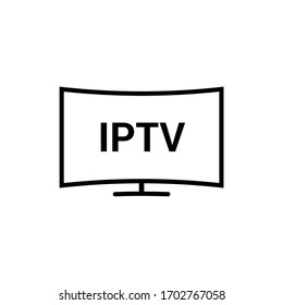 IPTV vector line icon. IP TV video channel box concept icon