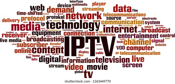 IPTV word cloud concept. Vector illustration