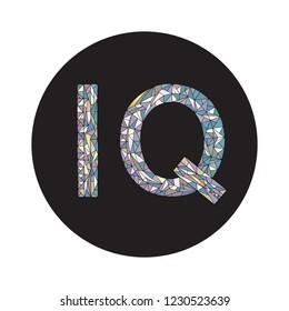 IQ hand drawn sign vector illustration. Intelligence quotient design.