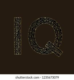 IQ hand drawn sign vector illustration. Intelligence quotient golden design on black background.