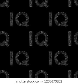 IQ hand drawn sign vector seamless pattern. Intelligence quotient background.