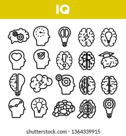 IQ, Intellect Linear Vector Icons Set. Intelligence Coefficient, IQ Thin Line Contour Symbols. Brain Power Pictograms Collection. Genius, Brainstorm. Lightbulb, Human Head Outline Illustrations
