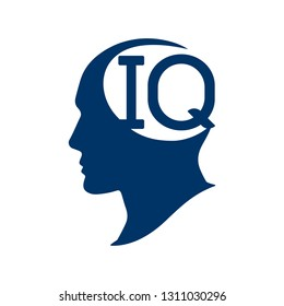 IQ intelligence quotient. Silhouette human head with IQ vector illustration.