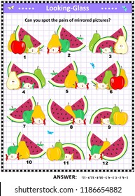 IQ, memory and spatial skills training visual puzzle with fruit and berry: Can you spot the pairs of mirrored pictures? Answer included.