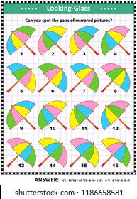 IQ, memory and spatial skills training visual abstract puzzle with colorful umbrellas: Can you spot the pairs of mirrored pictures? Answer included.