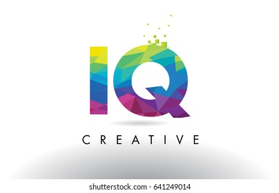 IQ I Q Colorful Letter Design with Creative Origami Triangles Rainbow Vector.