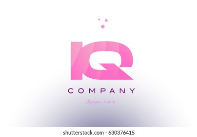iq i q letter alphabet text pink purple dots creative company logo vector icon design template