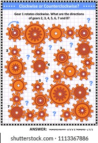 IQ and spatial skills training visual puzzle with gears rotating clockwise and counterclockwise. Answer included.