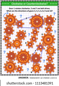 IQ and spatial skills training visual puzzle with rotating gears and belt drives. Answer included.
