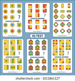 IQ test. Choose correct answer. Set of logical tasks composed of geometric shapes and houses. Vector illustration