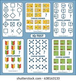 IQ test. Choose correct answer. Set of logical tasks composed of geometric shapes. Vector illustration