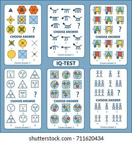 IQ test. Choose correct answer. Set of logical tasks composed of different shapes. Vector illustration
