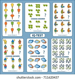 IQ test. Choose correct answer. Set of logical tasks composed of pictures of leaves, trees, fish, snakes, birds, houses. Vector illustration