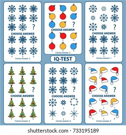 IQ test. Choose correct answer. Set of logical tasks composed of pictures of Christmas tree, snowflakes, Santa Claus hat, Christmas balls. Vector illustration