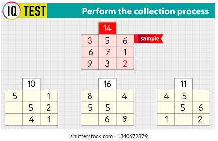 IQ TEST - Math Crossword - Perform the collection process Vector
