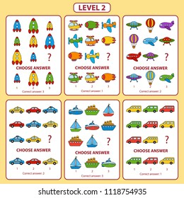 IQ test. Set of tasks for the development of logical thinking of children. Level 2. Set of logical tasks on the theme of transport. Vector illustration