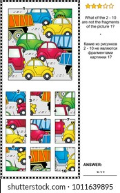 IQ training abstract visual puzzle with cars and trucks on the road: What of the 2 - 10 are not the fragments of the picture 1? Answer included.