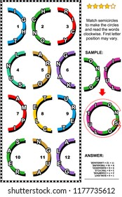 IQ training abstract visual word puzzle or word game (English language): Match semicircles with letters to make the circles and read the words. Answer included.