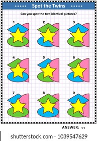 IQ training educational math puzzle for kids and adults with basic shapes - oval, star, semicircle, rhombus, or diamond - overlays and colors: Can you spot the two identical pictures? Answer included.