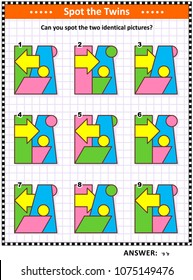 IQ training educational math puzzle for kids and adults with basic shapes -  parallelogram, rectangle, circles, arrow, trapezoid - overlays and colors: Can you spot the two identical pictures?