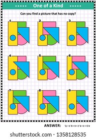 IQ training educational math puzzle for kids and adults with basic shapes - triangle, rectangle, circle, square - overlays and colors: Can you find the picture that has no copy? Answer included.